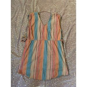 Short Sleeve Striped Linen Dress sz L